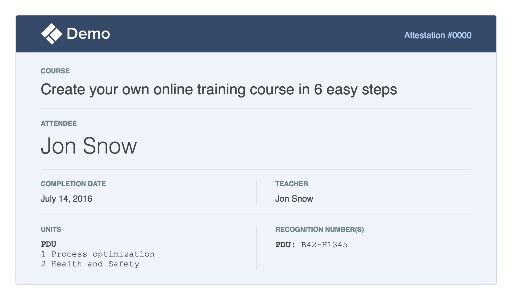 Certificate with course credits preview